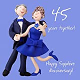 Happy 45th Sapphire Anniversary Greeting Card One Lump or Two Holy Mackerel Card