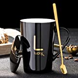 WMM Männer und Frauen Porzellan-Kaffeetasse und Löffel, Bone China 420ml-Becher Goldenes Muster Keramik Geschenk for Cappuccino, Latte (Color : Black-L)